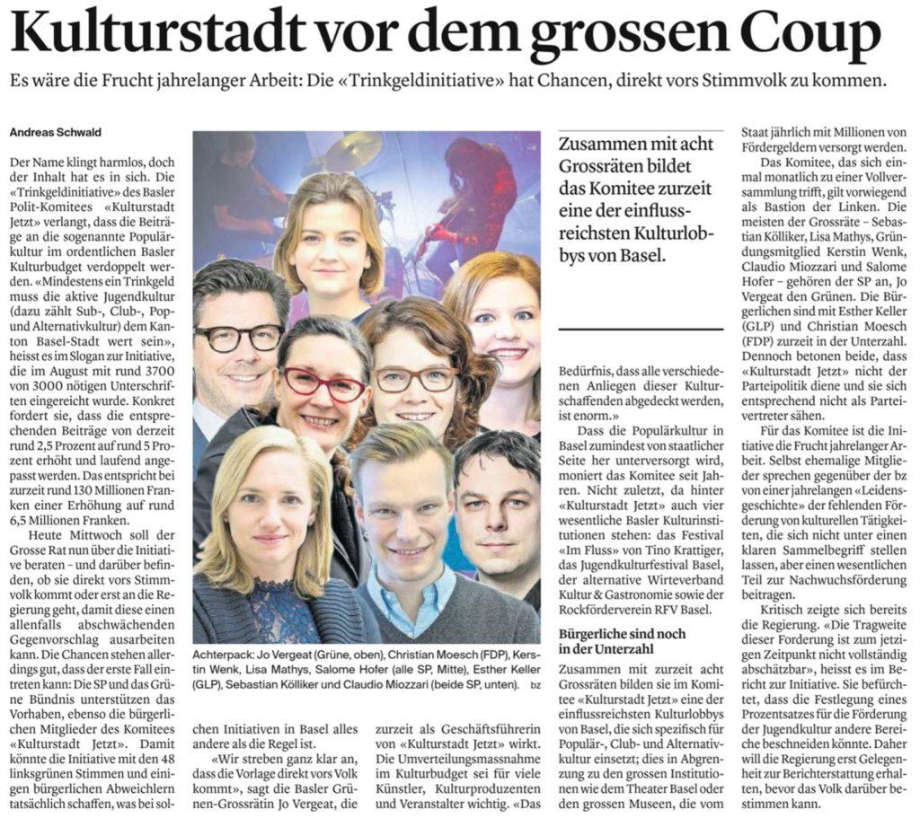 Artikel in der bz Basel vom 18. Dezember 2019
