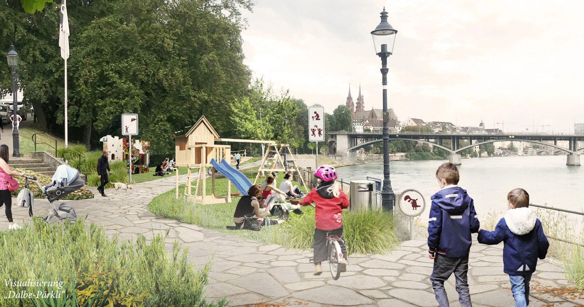 Visualisierung eines möglichen neuen Parks am Rhein